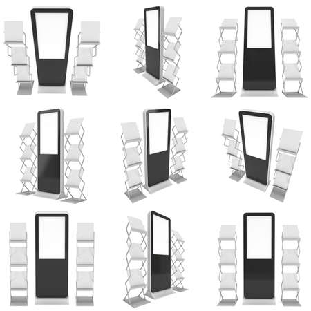 lcd screen: LCD Screen Floor Stand Set. Blank Trade Show Booth Collection. 3d render of lcd screen isolated on white background. High Resolution Floor Stand. Ad template for your expo design.