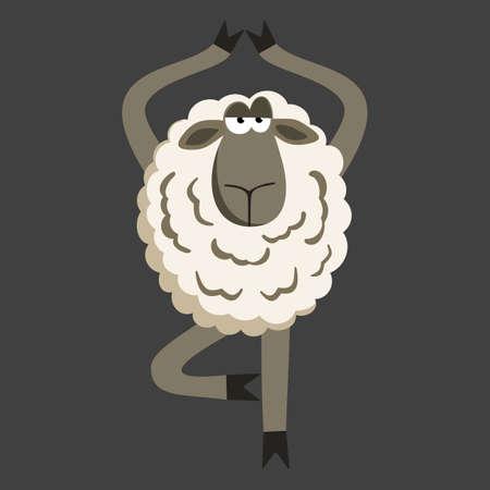 Stubborn Lamb in Yoga Tree Pose. Sheep character. Vector illustration of stubborn sheep doing yoga tree-pose on gray background