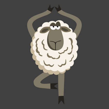 yoga asana tree pose: Stubborn Lamb in Yoga Tree Pose. Sheep character. Vector illustration of stubborn sheep doing yoga tree-pose on gray background