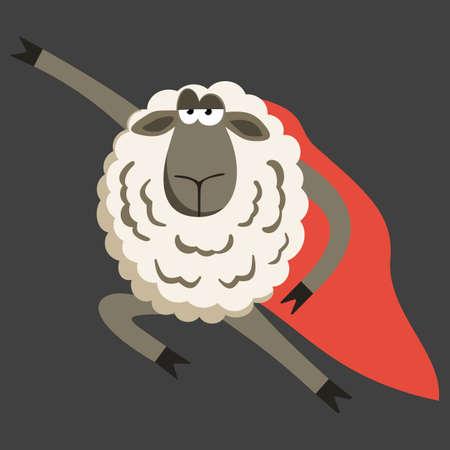 stubborn: Stubborn Lamb superhero with red cloak.  Sheep professional character. Vector illustration of stubborn super hero on dark background.