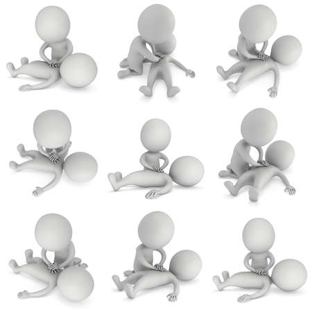 3d Man doing CPR First Aid Set. 3d CPR training concept collection on white background. CPR illustration