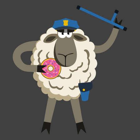 stubborn: Stubborn Lamb Policeman with Donut. Sheep professional character. Vector illustration of stubborn police isolated on black background. Illustration