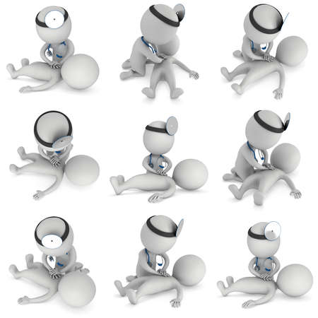 colection: Doctor doing CPR First Aid Set. 3d CPR training concept on white background colection. CPR illustration.