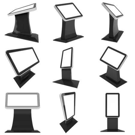 LCD Screen Floor Stand. Blank Trade Show Collection Booth. 3d render écran lcd isolé sur fond blanc. Haute Résolution Floor Stand. modèle pour la conception de votre expo d'annonce.
