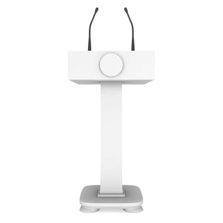 rostrum: 3d Speaker Podium. White Tribune Rostrum Stand with Microphones. 3d render isolated on white background. Debate, press conference concept