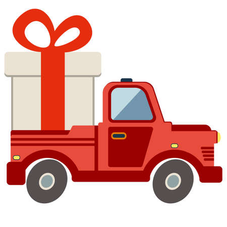 transport of goods: Delivery flat transport truck, van with gift box pack on white. Product goods shipping transport vector illustration.
