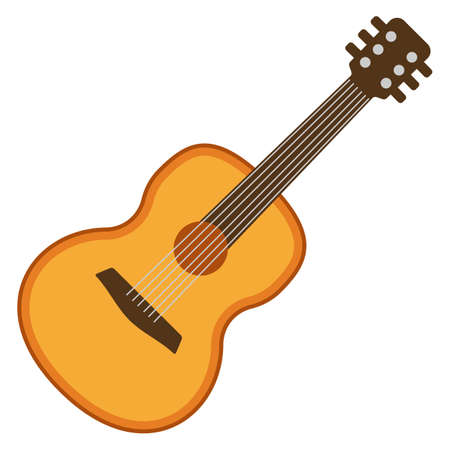 fingerboard: Classical acoustic flat guitar. Isolated silhouette classic guitar. Musical string instrument collection. Vector illustration isolated on white Illustration