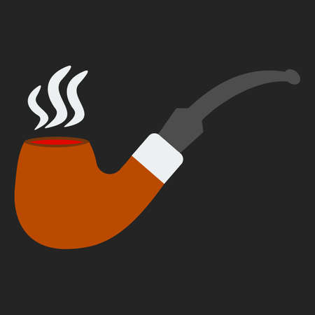 tobacco pipe: Tobacco smoking pipe. Vector. Classical hipster smoke pipe in flat style.  Vector illustration on black background Illustration