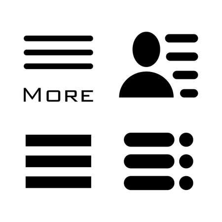 bar line: Hamburger Menu Icons Set. Bar Line Symbols Collection. Vector Illustration isolated on white background.