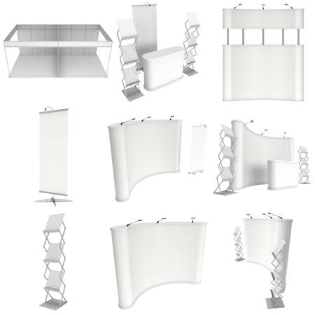 rollup: Trade show booth set. Roll-Up, Pop-Up with Reception Desk. 3d render isolated on white background. 3d render isolated on white background. Floor Stands Collection. Ad template for your expo design.