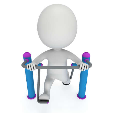 stamina: Active 3D man exercising on outdoor fitnes trainer machine. Fit sporty man working out at outdoor gym. Sport fitness and healthy lifestyle concept. 3D render isolated on white.