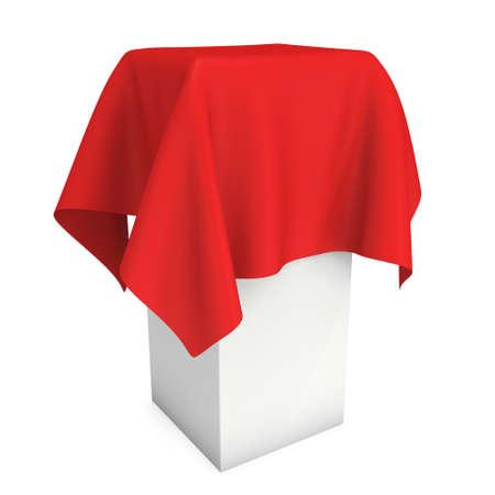 Präsentation Podest mit einem roten Tuch bedeckt. Platz für Preis oder Preis Abdeckung von Tuch. 3d übertragen getrennt auf Weiß. Standard-Bild - 58734605