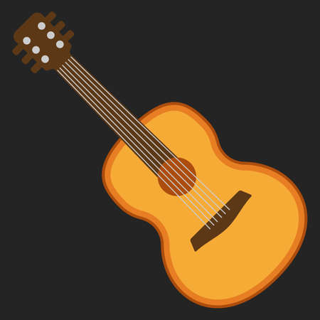 frets: Classical acoustic flat guitar. Isolated silhouette classic guitar. Musical string instrument collection. Vector illustration on black background