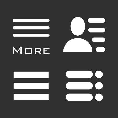 bar line: Hamburger Menu Icons Set. Bar Line Symbols Collection. Vector Illustration white signs on black background. White and black image.