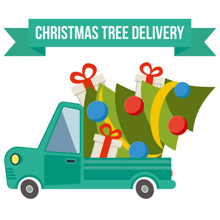 transport of goods: Delivery flat transport truck, van with gift boxes and christmas tree on white. Product goods shipping transport vector illustration. Illustration