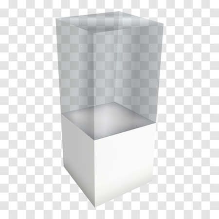 Leere Glasvitrine für Ausstellung. 3D-Vektor-Illustration auf transparenten weißen Hintergrund. Messestand weiß und leer Sockel mit Glaskasten für Expo Design. Illustration