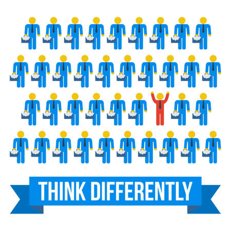 think out of the box: Think differently people concept. Red leader out of crowd blue businessmen. Vector illustration isolated on white background. Business, leadership out of box concept.