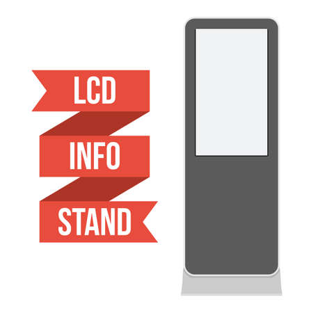 lcd tv: LCD TV Info Floor Stand. Blank Trade Show Booth. Vector illustration of kiosk machine isolated on white background. Ad template for your expo design with ribbon banner text.