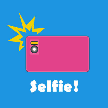 solid blue background: Taking Selfie Photo on Smart Phone concept banner. Vector illustration of  glamor pink smartphone on solid blue background.