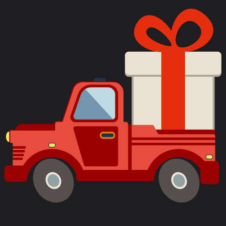 Delivery flat transport truck, van with gift box pack on black. Product goods shipping transport vector illustration.