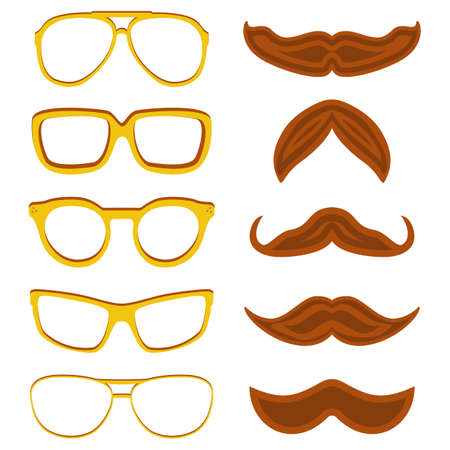 nerd glasses: Set of hipster nerd glasses and stylish mustaches isolated on white. Web Banner Vector Flat Design. Vector Mustache and Glasses Icons. Hipster creative design template illustration
