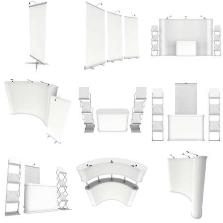 Messestand eingestellt. Roll-Up, Pop-Up mit Rezeption. 3d isoliert auf weißem Hintergrund zu machen. 3d isoliert auf weißem Hintergrund zu machen. Bodenständer Collection. Ad-Vorlage für Ihr Expo Design.