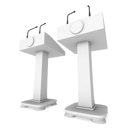 tribune: 3d Speaker Podium. White Tribune Rostrum Stand with Microphones. 3d render isolated on white background. Debate, press conference concept