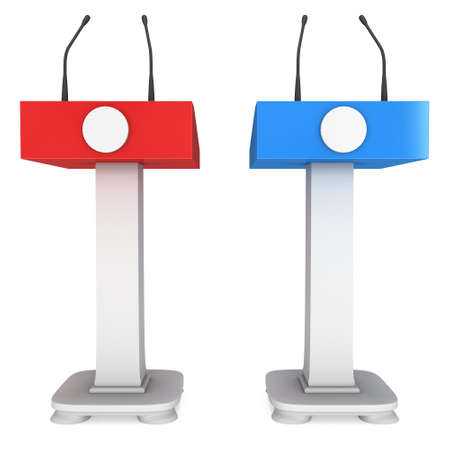 rostrum: 3d Speaker Podium. Red and blue tribune rostrum stands with microphones. 3d render isolated on white background. Debate, press conference concept