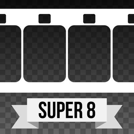 super 8: Vector Super 8 Film Strip Illustration on black transparent background. Abstract Film Strip design template with text on white ribbon banner