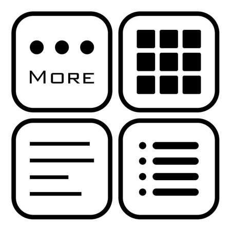 Hamburger menu icons set. . Vector symbols collection isolated on white background. Illustration