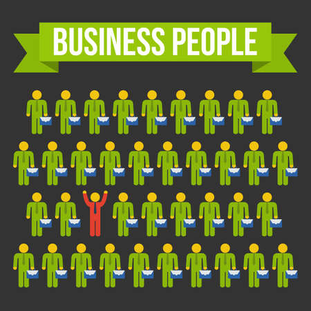differently: Think differently people concept. Red leader out of crowd green businessmen. Vector illustration on black background. Business, leadership out of box concept.