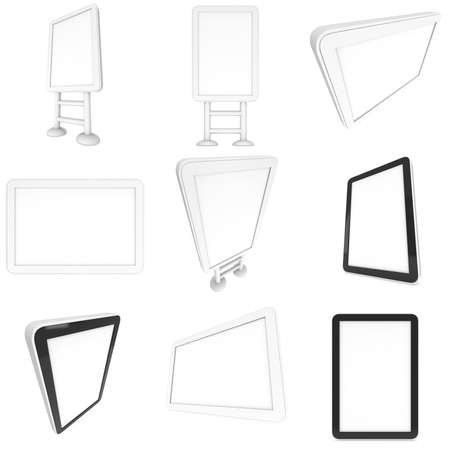 lcd screen: Lcd computer screen and floor stand set. 3d render of lcd screen collection isolated on white background. High Resolution ad template for your apps design. Stock Photo
