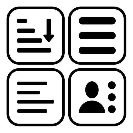 Hamburger menu icons set. Vector symbols collection isolated on white background. Illustration