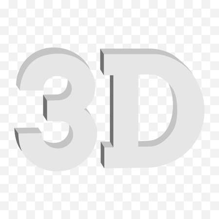 anaglyph: 3D three-dimensional button sign in solid grayscale colors icon on transparent background. Vector illustration.