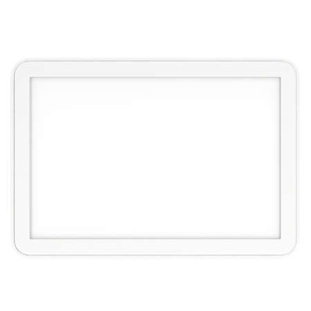 ereader: Tablet pc computer with blank screen. 3d render of lcd screen pad isolated on white background. High Resolution ad template for your apps design. Stock Photo