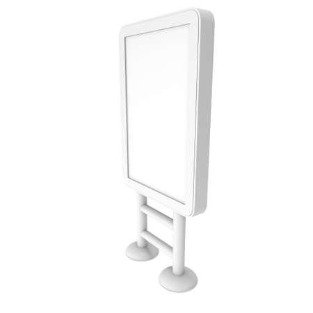 expositor: Soporte para TV LCD. En blanco stand de feria. 3d de lcd tv aislados sobre fondo blanco. Plantilla de anuncio de alta resolución para su diseño expo.