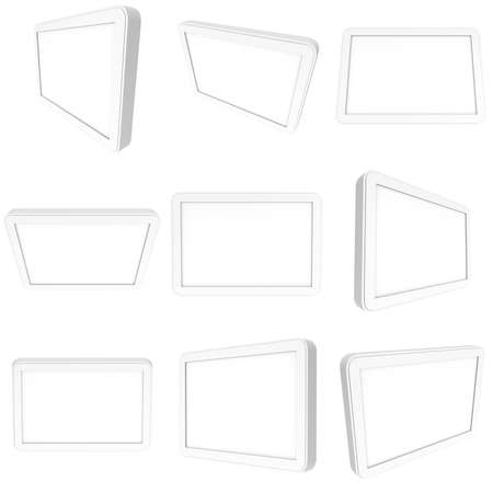 lcd screen: Set of tablet pc computer with blank screen. 3d render of lcd screen pad collection isolated on white background. High Resolution ad template for your apps design.