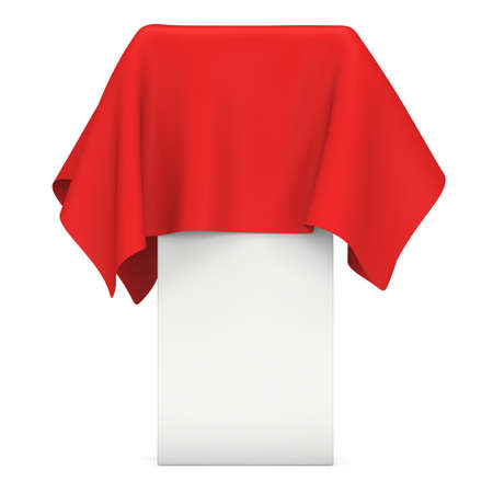 fashion show: Presentation pedestal covered with a red cloth. Place for award or prize cover by cloth. 3d render illustration isolated on white.