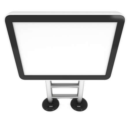 expositor: LCD TV Stand. Blank Trade Show Booth. 3d render of lcd tv isolated on white background. High Resolution ad template for your expo design.