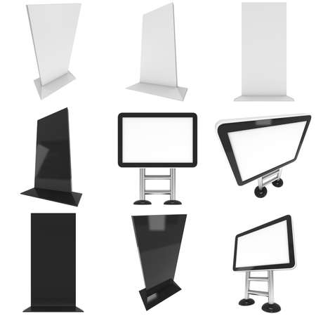 lcd screen: LCD Screen Stand Set. Blank Trade Show Booth Collection. 3d render of lcd screen isolated on white background. High Resolution. Ad template for your expo design.