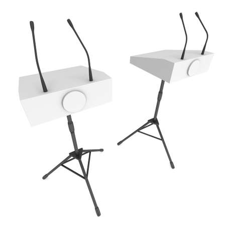 rostrum: Two Speaker Podiums on Tripod. White Tribune Rostrum Stand with Microphones. 3d render isolated on white background. Debate, press conference concept