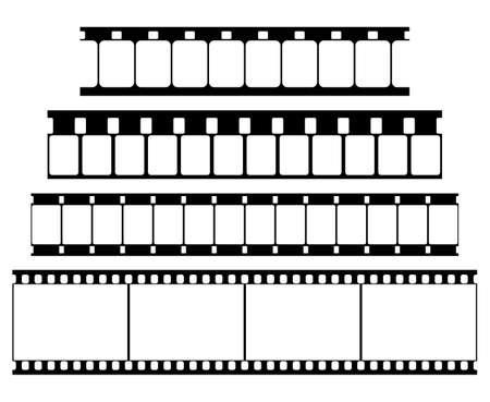 Vector Film Strip Set Illustration on White Background. Abstract Film Strip Super 8 16 35mm  design template. Film Strip Seamless Pattern.