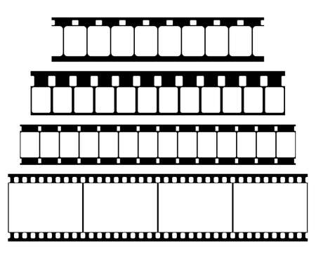 Vector Film Strip Set Illustration on White Background. Abstract Film Strip Super 8 16 35mm  design template. Film Strip Seamless Pattern.
