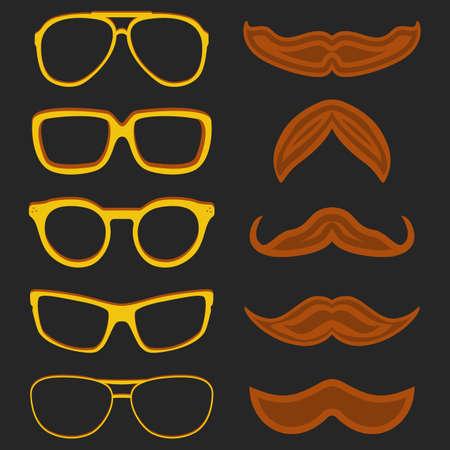 nerd glasses: Set of hipster nerd glasses and stylish mustaches on black. Web Banner Vector Flat Design. Vector Mustache and Glasses Icons. Hipster creative design template illustration