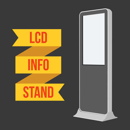 exhibitor: LCD TV Info Floor Stand. Blank Trade Show Booth. Vector illustration of kiosk machine on black background. Ad template for your expo design with ribbon banner text. Illustration
