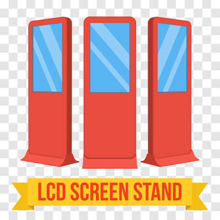 lcd screen: LCD Screen Floor Stand. Red Trade Show Booths with different angles. Vector illustration of kiosk machines on transparent background. Ad template for your expo design with ribbon banner text.