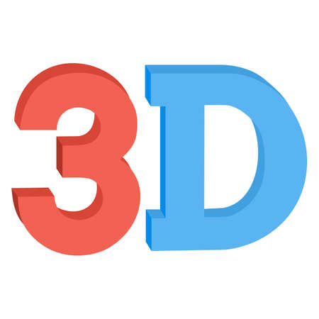 anaglyph: 3D three-dimensional button sign in solid red and blue colors icon isolated on background. Vector illustration. Illustration