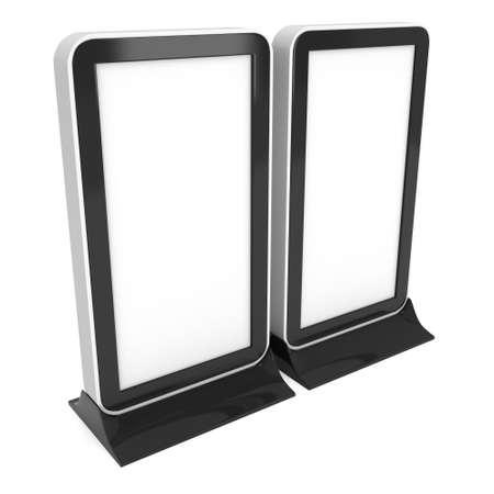 exhibitor: Dos pantalla LCD Soportes. En blanco stand de feria. 3d de la pantalla de cristal líquido aislado sobre fondo blanco. Alta resolución. Plantilla de anuncio para su diseño expo.