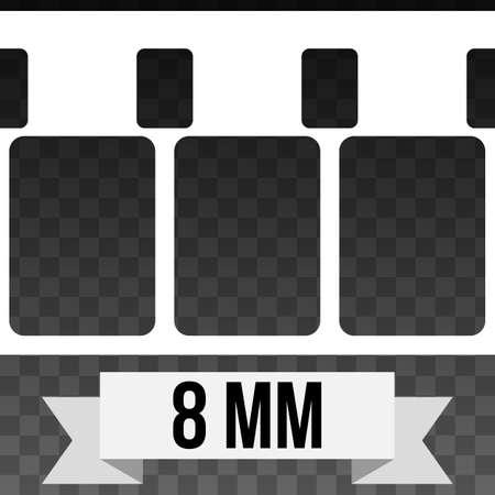 strip design: Vector 8 mm Film Strip Illustration on Black transparent Background. Abstract Film Strip design template. Film Strip Seamless Pattern. Illustration