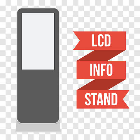 lcd tv: LCD TV Info Floor Stand. Blank Trade Show Booth. Vector illustration of kiosk machine on transparent background. Ad template for your expo design with ribbon banner text.